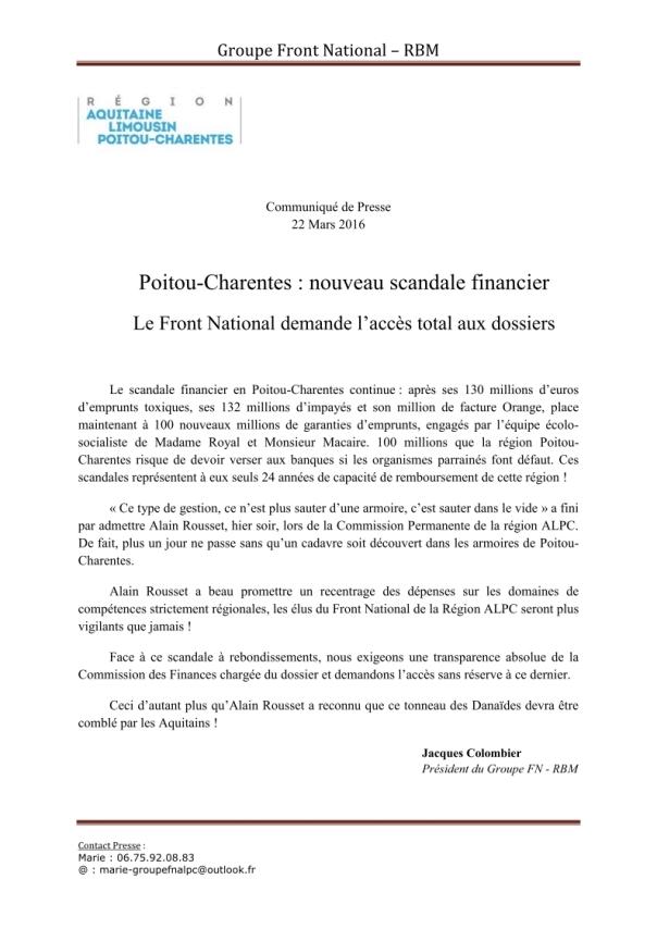communiqué de presse du 22 mars 2016 - Poitou-Charentes