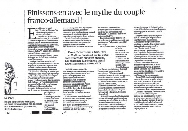 le mythe du couple Franco-allemand